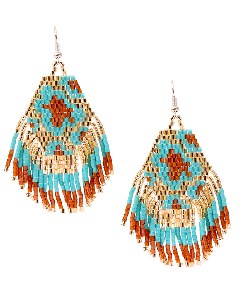 Red Beaded Aztec Earrings