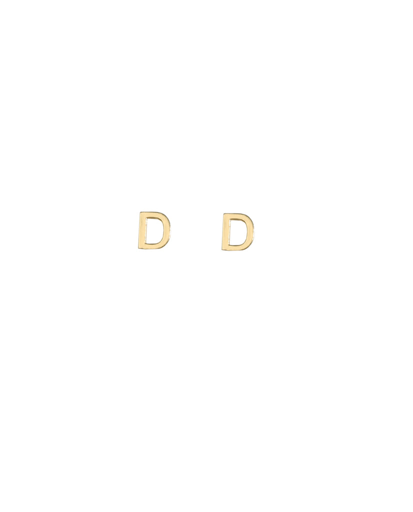 Gold Plated Initial 'D' Earrings