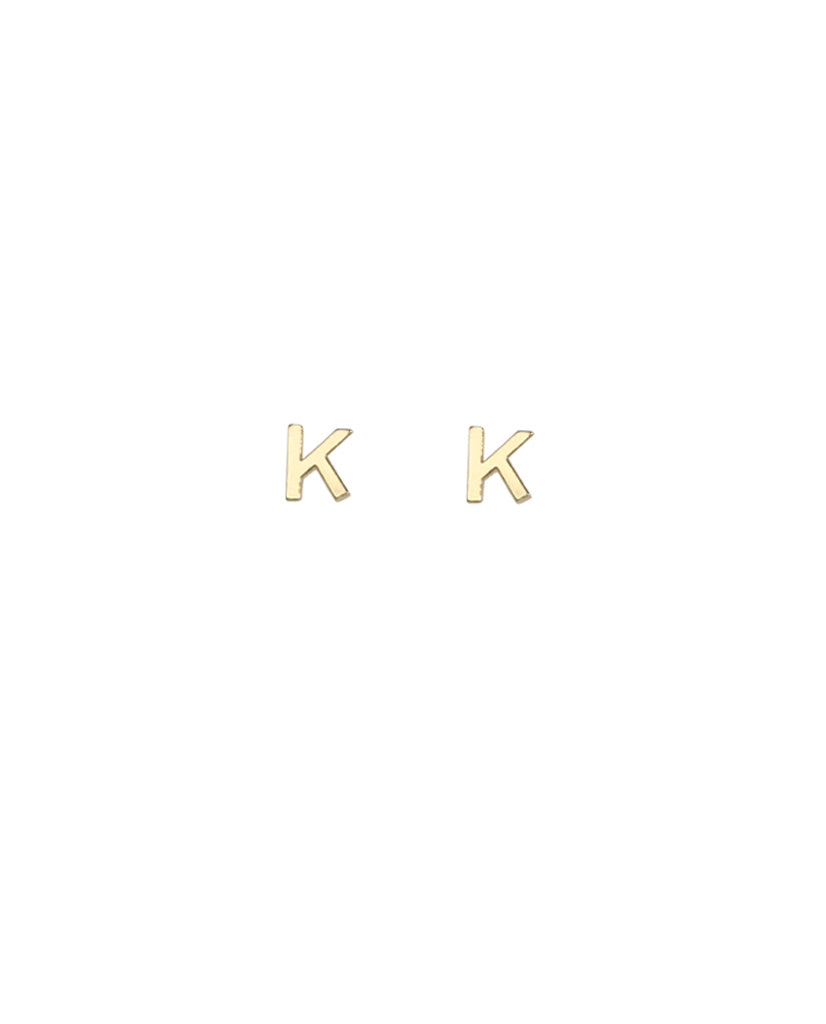 Gold Plated Initial 'K' Earrings