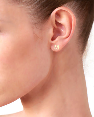 Gold Plated Initial 'M' Earrings