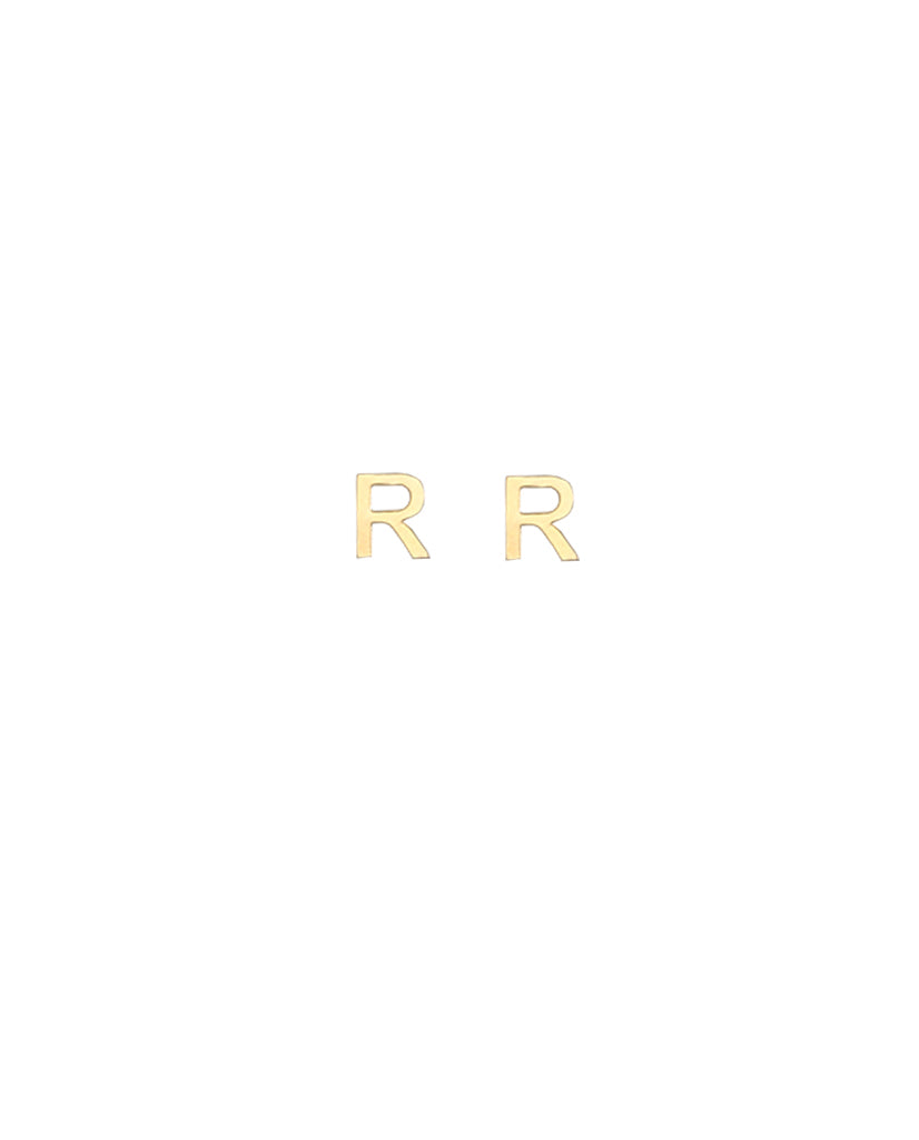 Gold Plated Initial 'R' Earrings