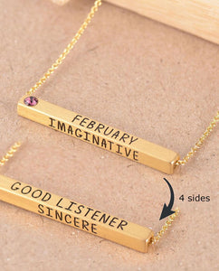 February Birthstone 4D Bar Necklace