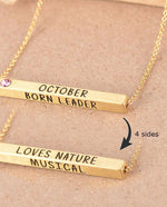 October Birthstone 4D Bar Necklace