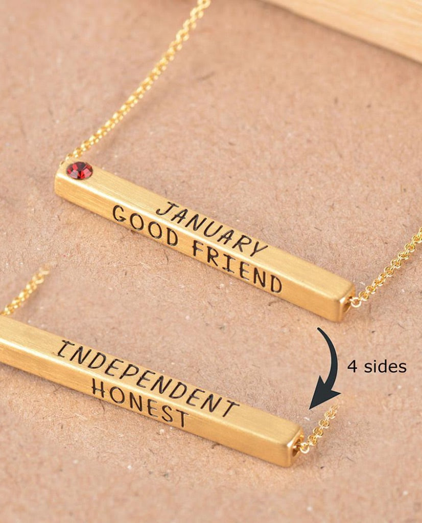 January Birthstone 4D Bar Necklace