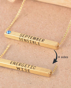 September Birthstone 4D Bar Necklace