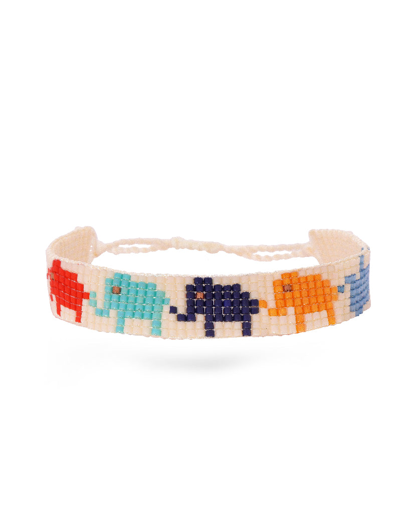 Beaded Elephant White Bracelet