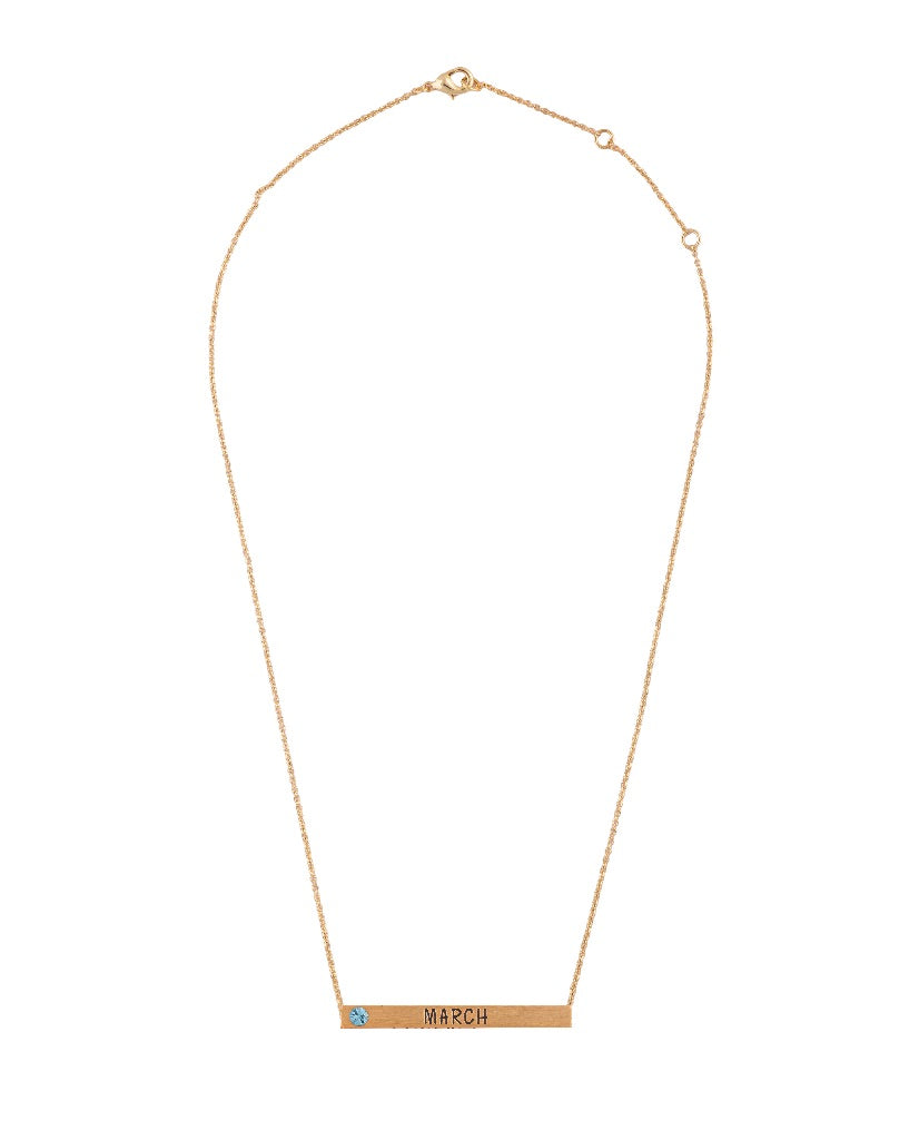 March Birthstone 4D Bar Necklace