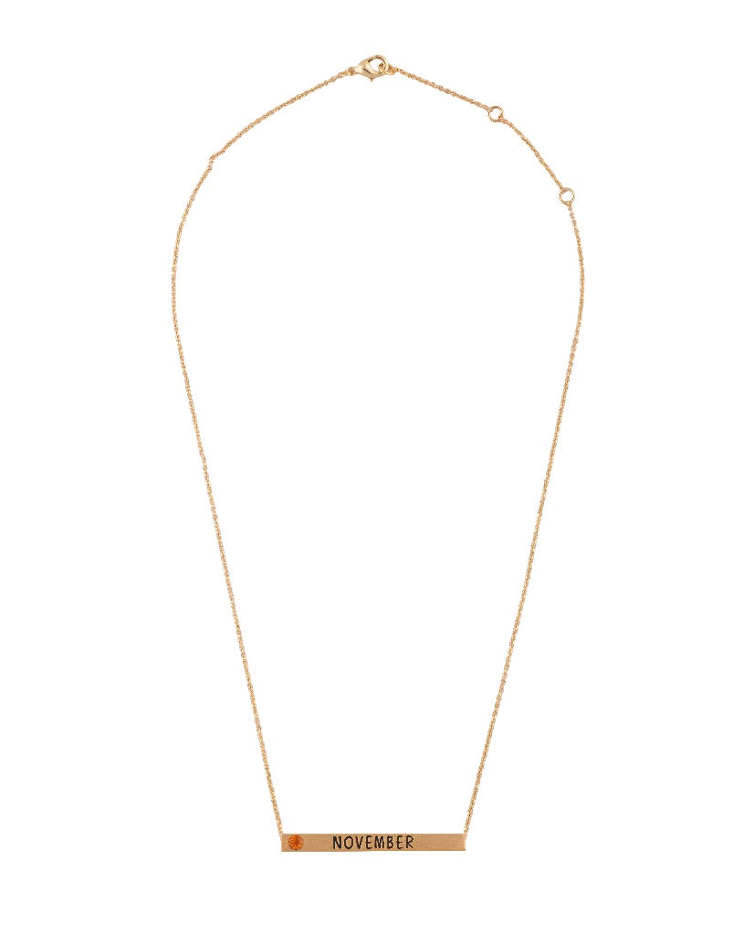 November Birthmonth 4D Bar Necklace
