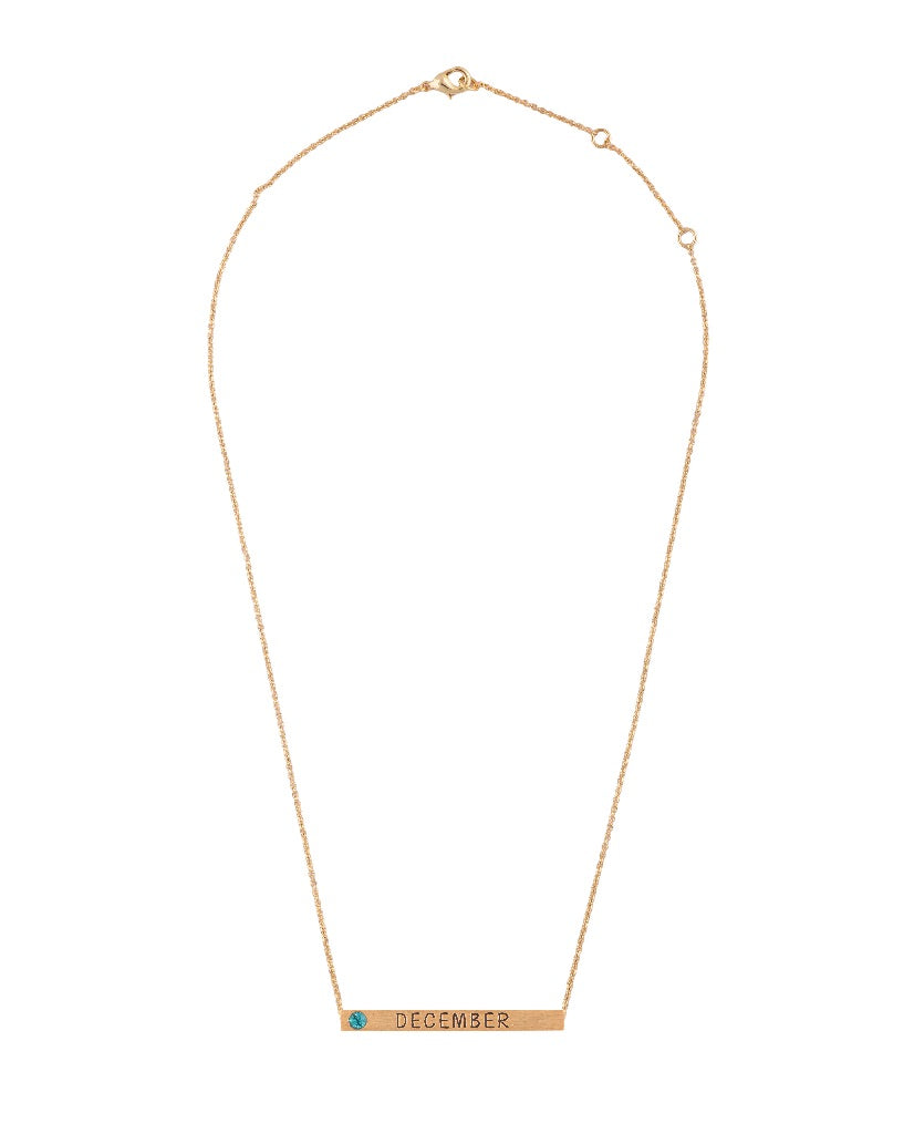 December Birthstone 4D Bar Necklace