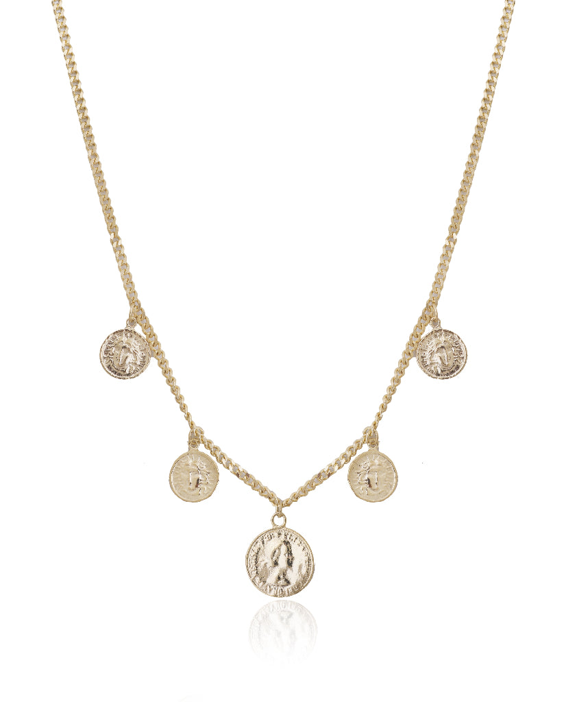 Beth Multi-Medallion Embossed Necklace