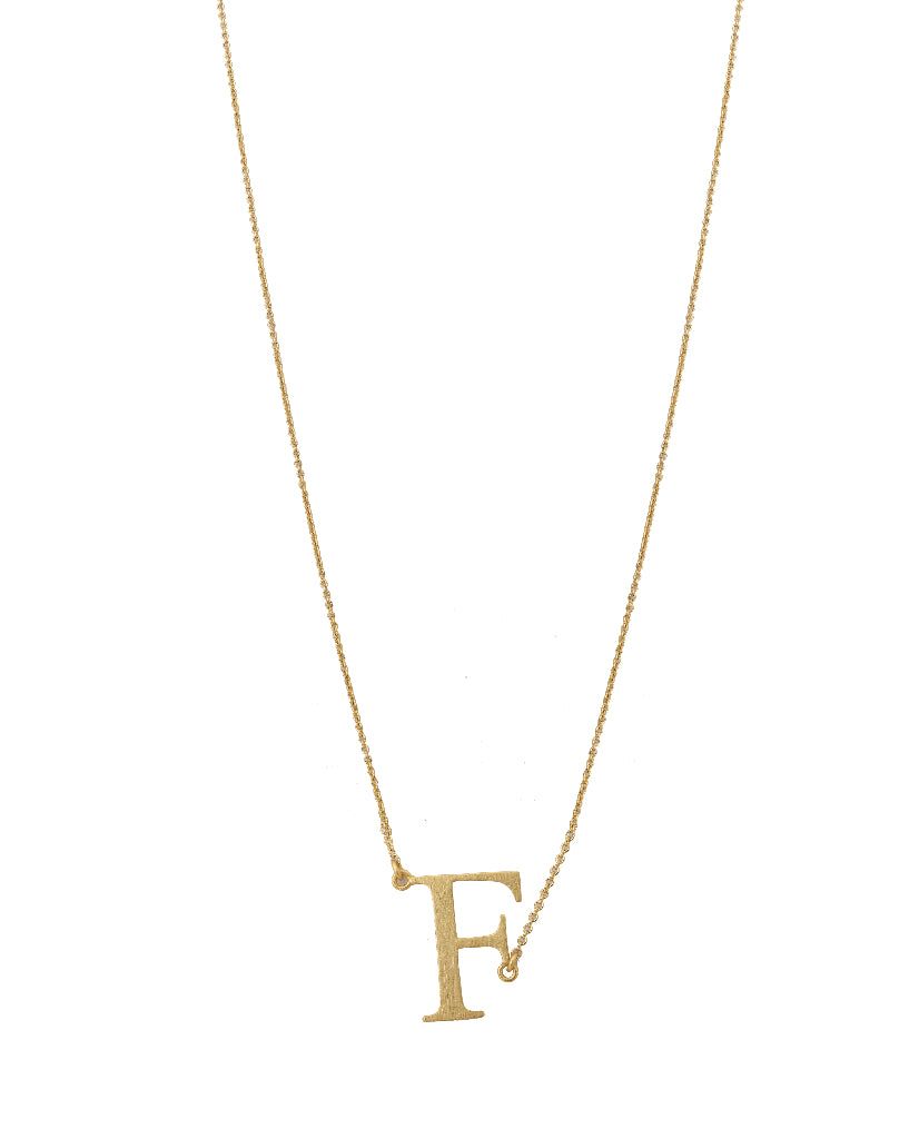 Bold Initial 'F' Necklace