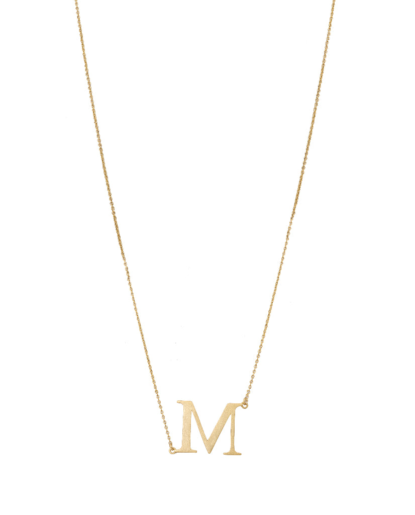Bold Initial 'M' Necklace
