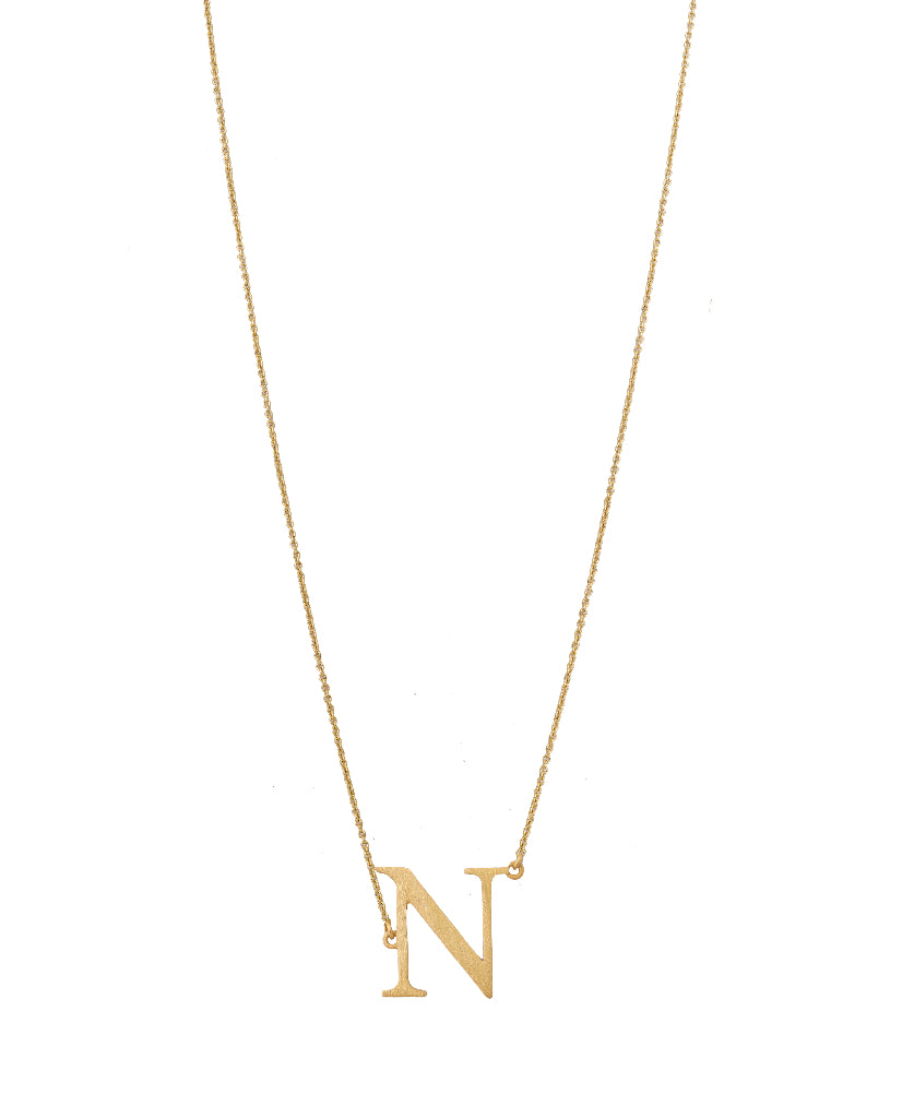 Bold Initial 'N' Necklace