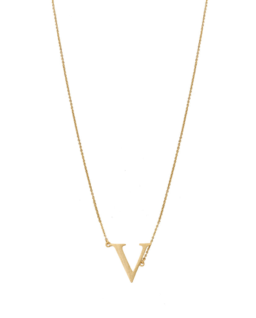 Bold Initial 'V' Necklace