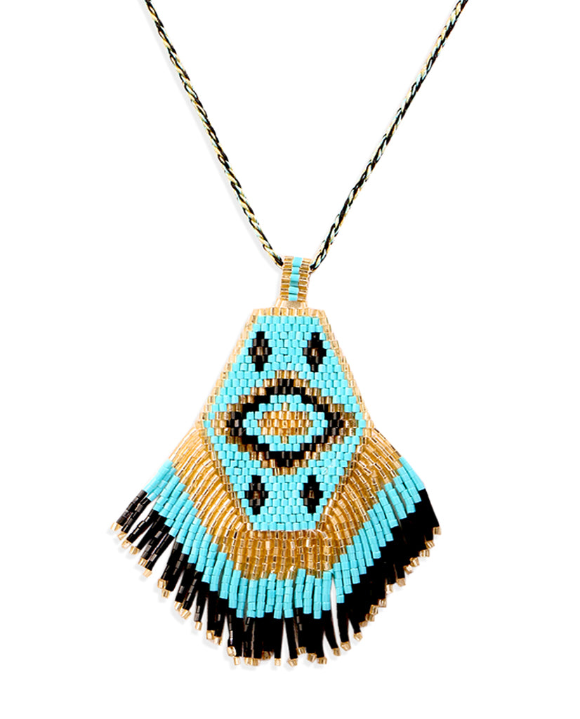 Blue Beaded Aztec Necklace