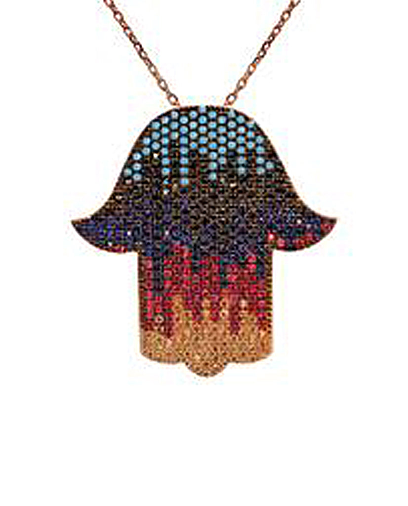 Rainbow Hamsa Necklace