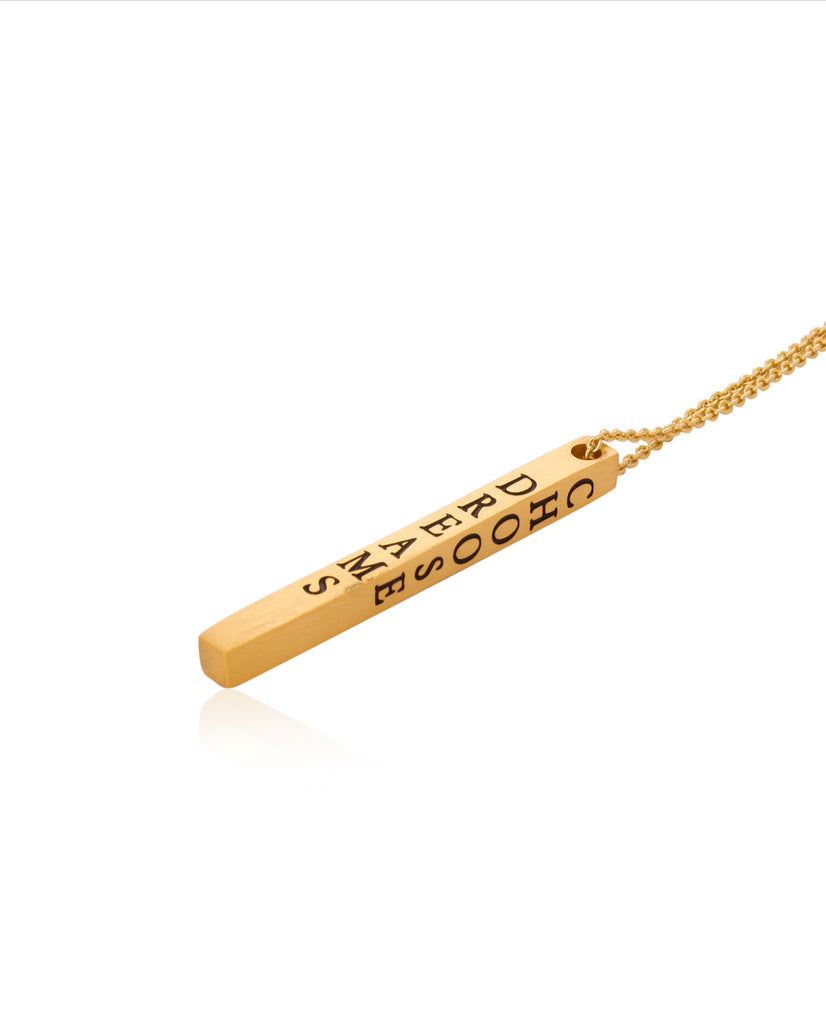 Live Dreams Choose Joy Bar Necklace