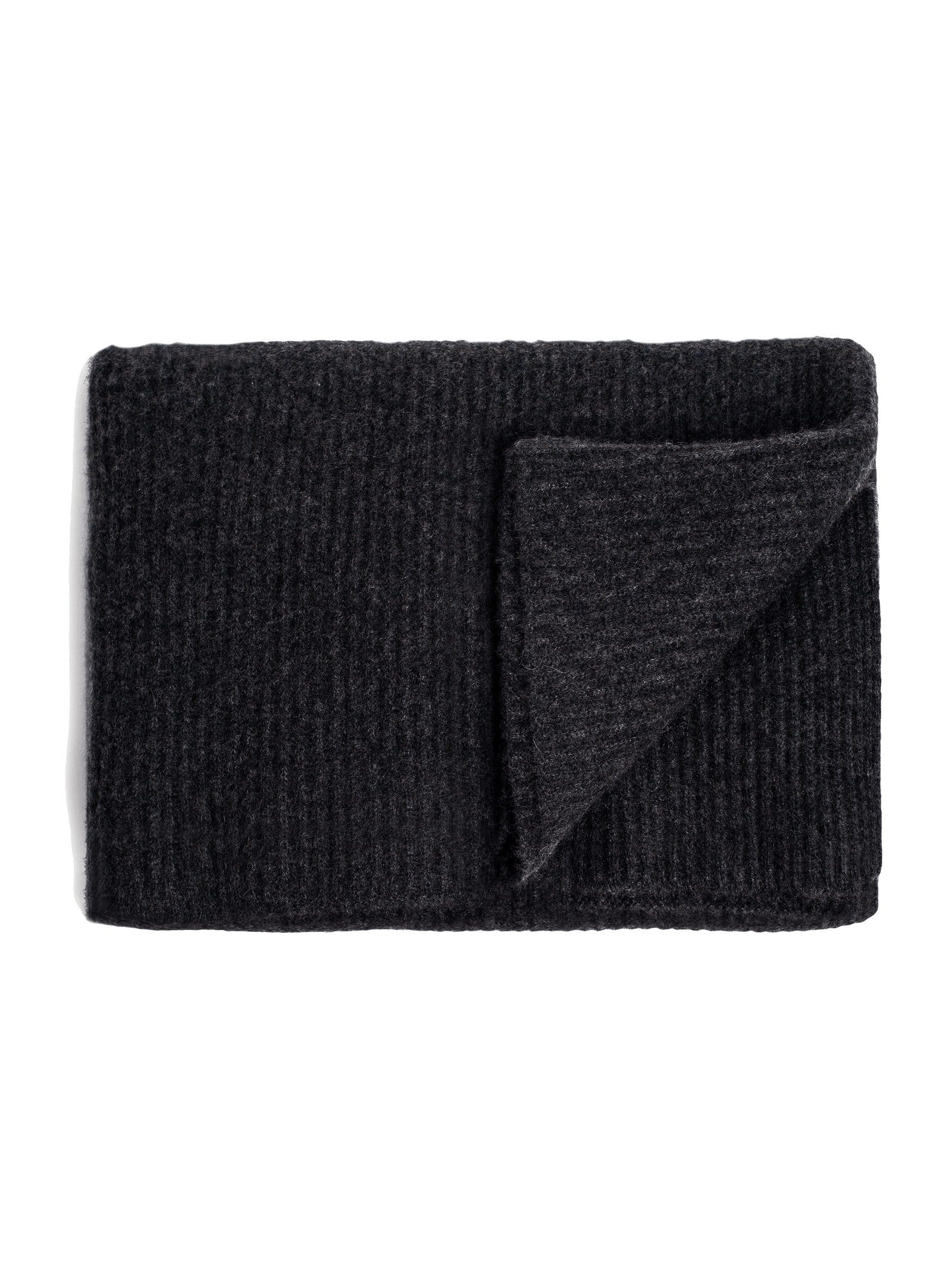 Ribbed Cashmere Oversized Throw - Charcoal