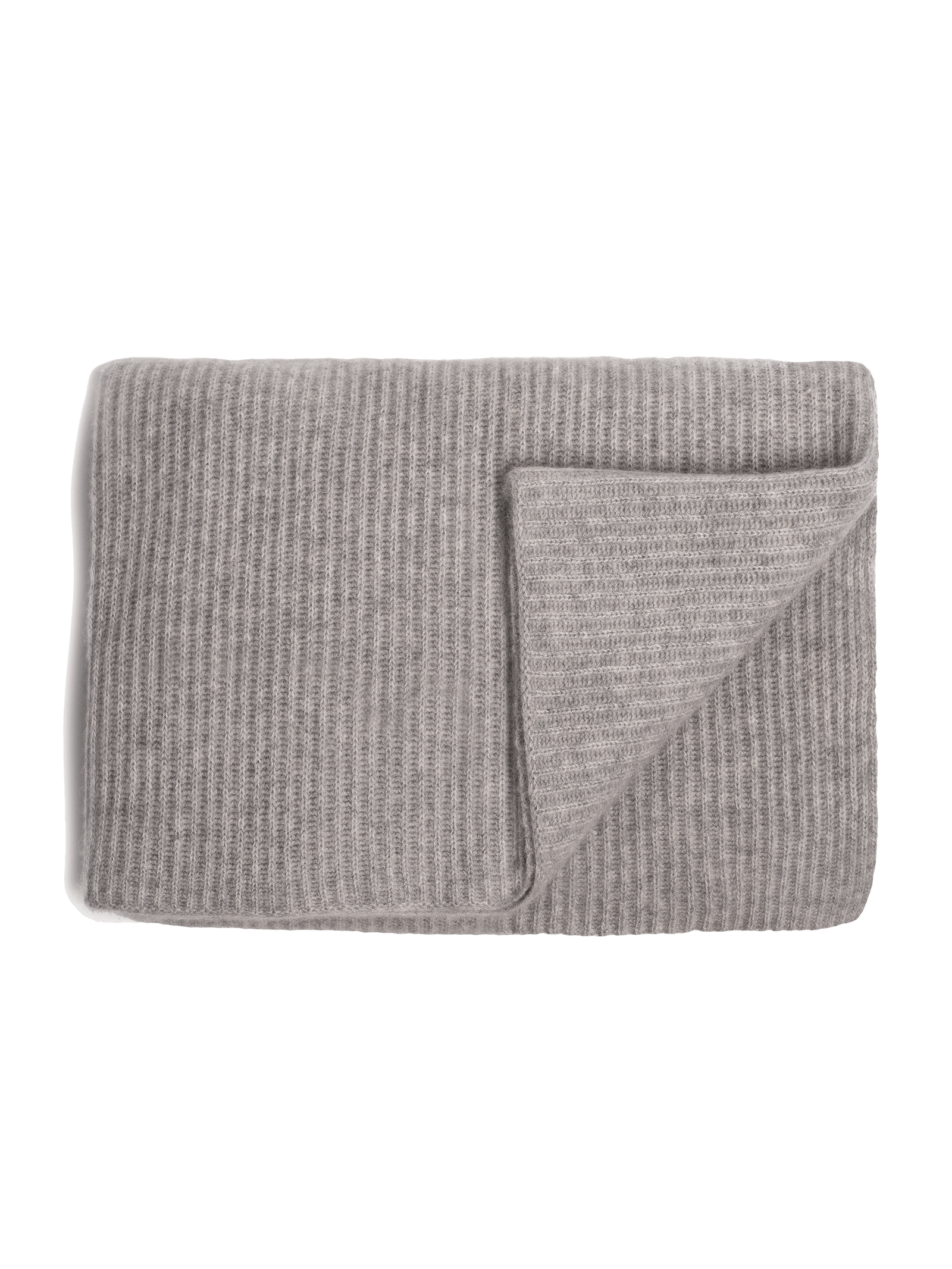 Ribbed Cashmere Oversized Throw - Grey