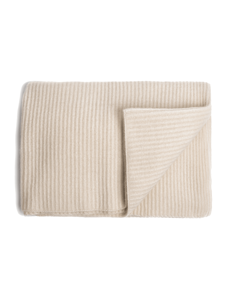 Ribbed Cashmere Oversized Throw - Ivory - color option