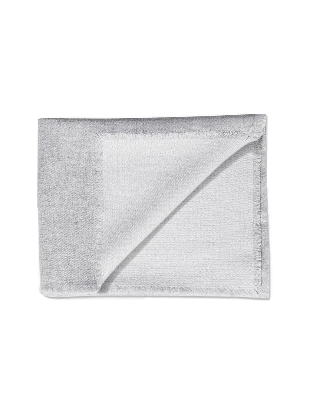 Double Sided Cashmere Throw - Grey / Ivory - thumbnail 1