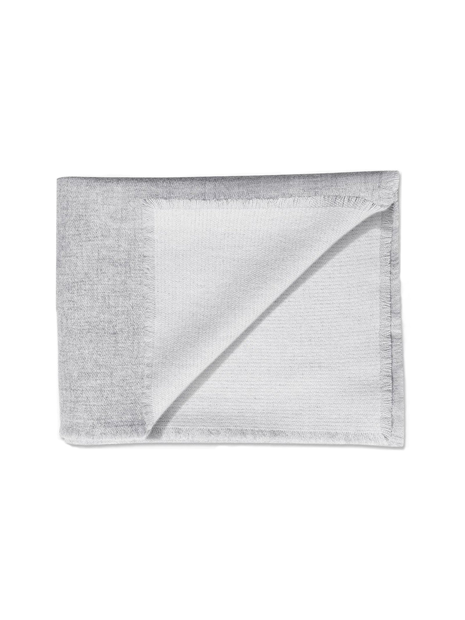 Double Sided Cashmere Throw - Grey / Ivory