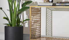 Lennox Woven Brass Console Table