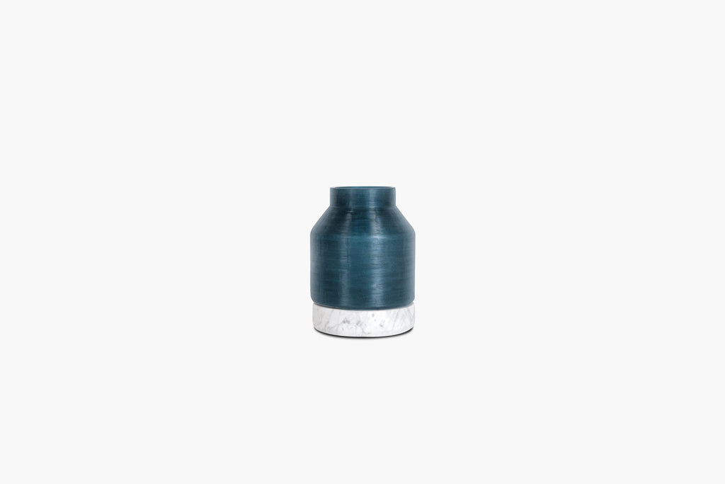 Cotes Vessel - Navy on White Marble - 4