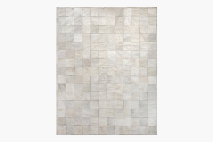 South American Cowhide Tile Rug – Ivory
