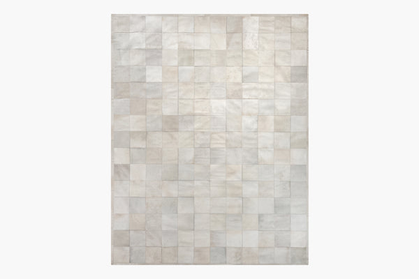 Contemporary Geometric 6x9 Area Rug South American Cowhide Tile Ivory Product Image