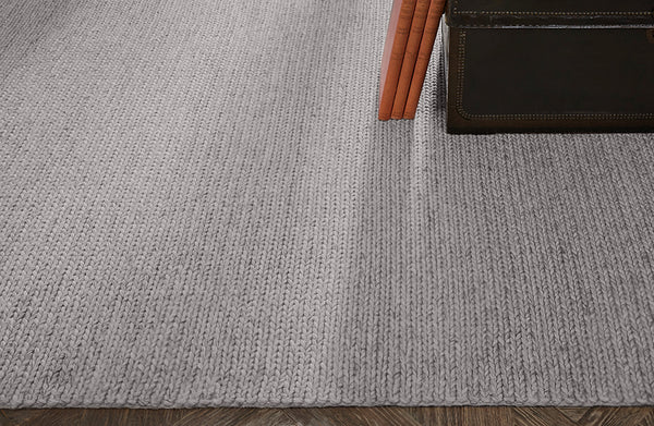 Contemporary 8x10 Area Rug Braided Wool Fog Product Image