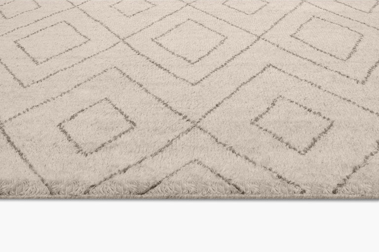 Performance Double Diamond Moroccan Rug – Ivory / Fog - color option