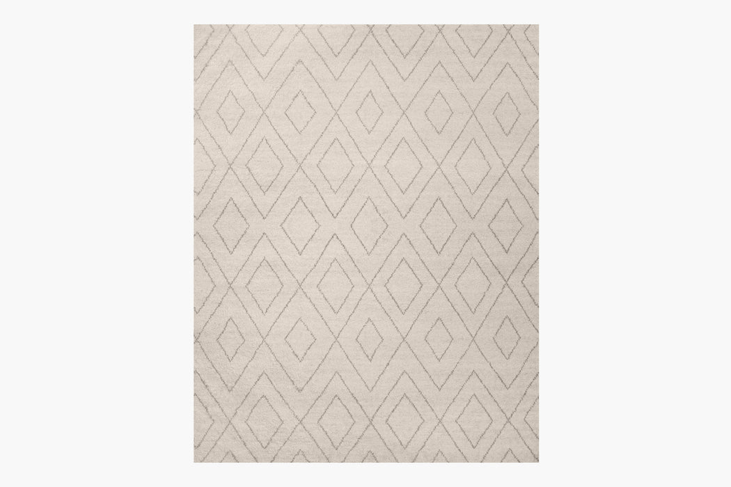 Performance Double Diamond Moroccan Rug – Ivory / Fog