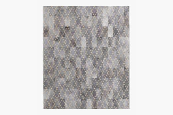 Contemporary Geometric 6x9 Area Rug Arlequin Hide Charcoal / Gold Product Image