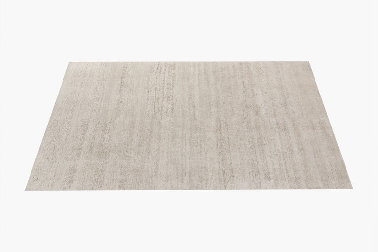 Ribbed Silk and Nettle Rug – Solid Sand - color option
