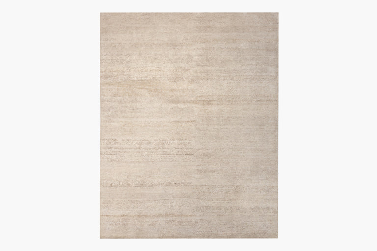 Ribbed Silk and Nettle Rug – Solid Sand