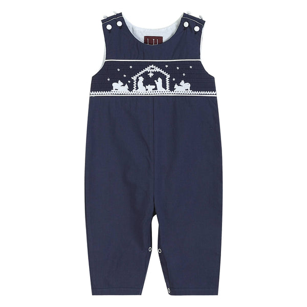 Navy Blue Nativity Smocked Overalls
