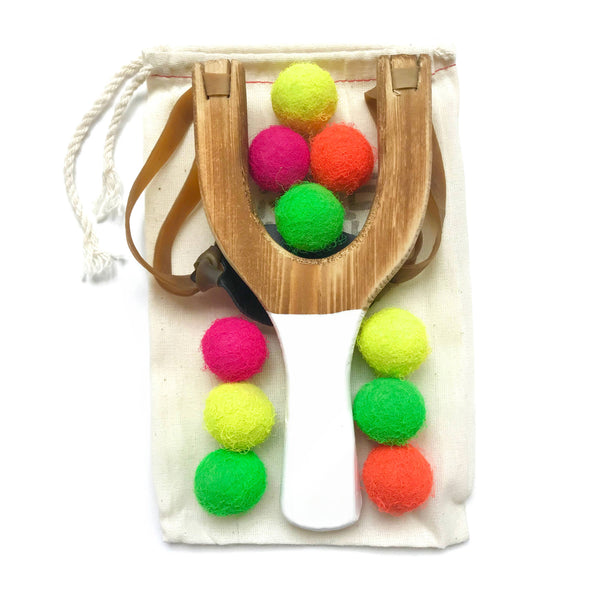 Little Lark - Wooden Slingshot with Neon Felt Balls
