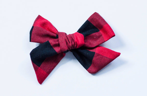 Red And Black Buffalo Plaid Bow on Nude Headband