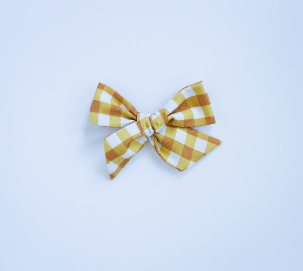 Flower Market Gingham Gold Bow on Nude Headband