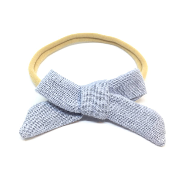Blue Organic Linen Dainty Hair Bow