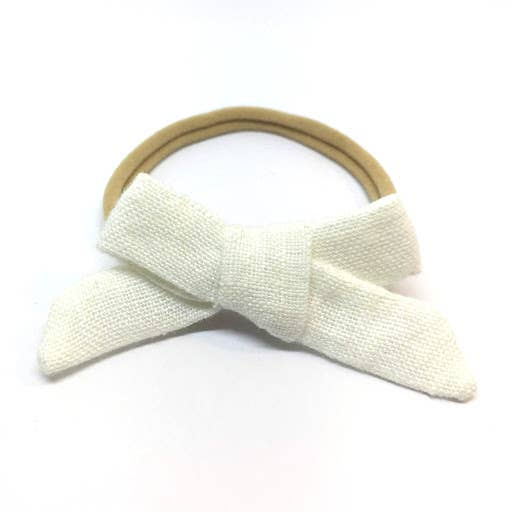 Milky White Organic Linen Dainty Hair Bow