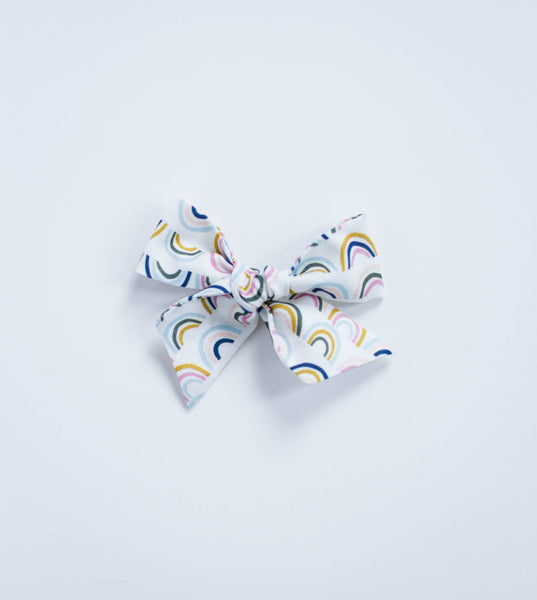 Mini Rainbow Bow on Nude Headband