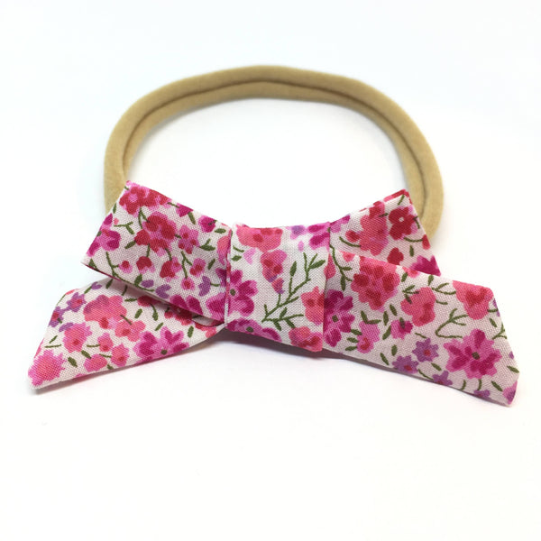 Pink Floral Dainty Hair Bow