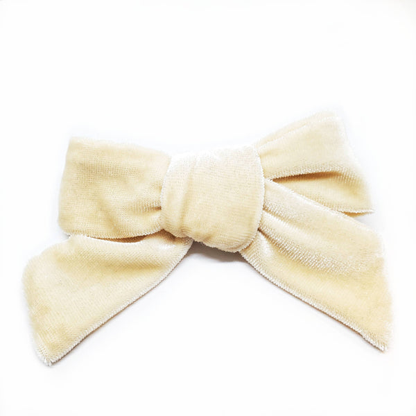 Cream Velvet Modern Hair Bow on Alligator Clip