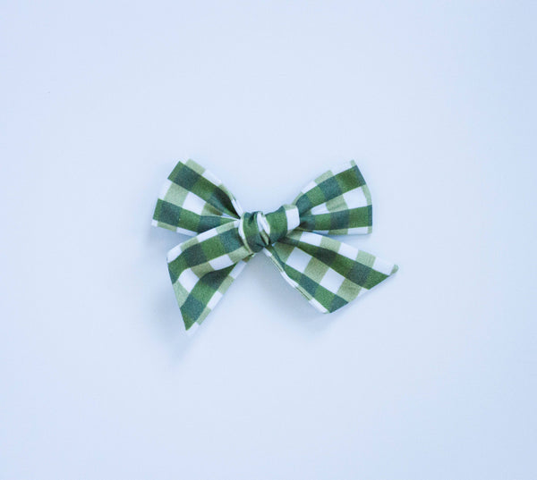 Flower Market Gingham Green Bow on Nude Headband