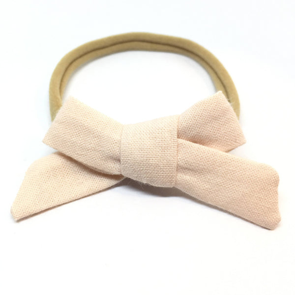Blush Pink Dainty Hair Bow (Organic)