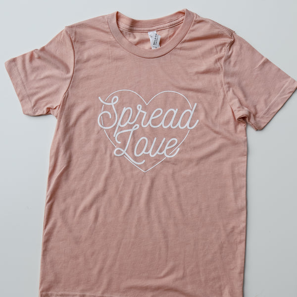 """Spread Love"" Adult Tee-Peach"