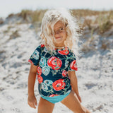 Navy Rose Rash Guard Swimsuit