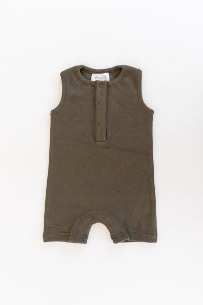 Olive Cotton Short Romper